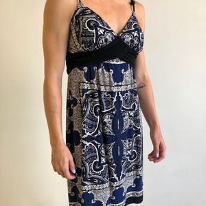 black, blue & white patterned dress